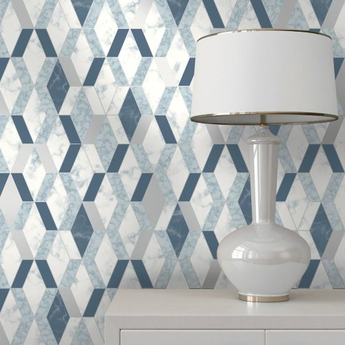 Muriva Runa Marble Tile Pattern Wallpaper Faux Effect Geometric Metallic Vinyl L63801