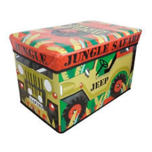 Jeep Design Folding Storage Chest - Box Toy Kids Large Tidy Jungle Boys Clothes -  storage box toy kids chest large tidy jungle boys jeep clothes
