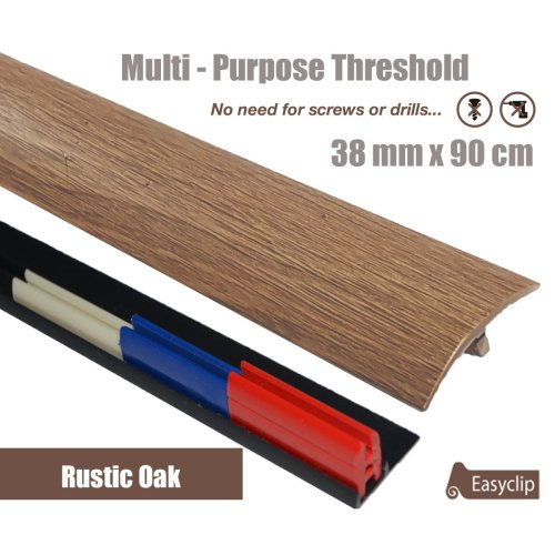 Rustic Oak Multi Purpose Threshold Strip 38x90cm Adhesive Clip System