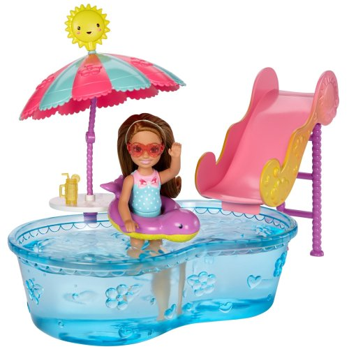 Barbie DWJ47 Club Chelsea Pool and Water Slide Doll