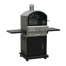 Verona Stainless Steel Deluxe Gas Pizza Oven in Black