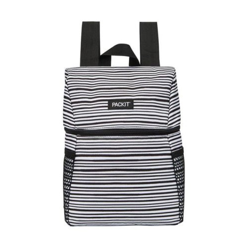 Packit 8963258 Packit Backpack White Striped Lunch Bag Cooler, Black