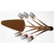 7 Piece Cake Slicer Set Serving Knife with 6 Dessert Forks Stainless Steel