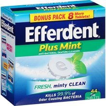 Efferdent Plus Mint Anti-Bacterial Denture Cleanser Tablets, 44 Count