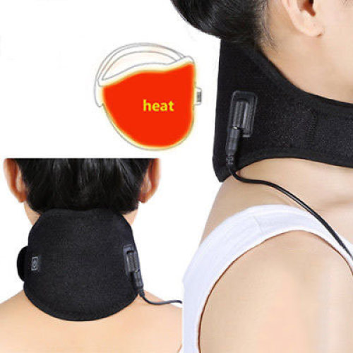 Electric Neck Heating Pad Wrap Hot Therapy Brace Heat Protector Strap
