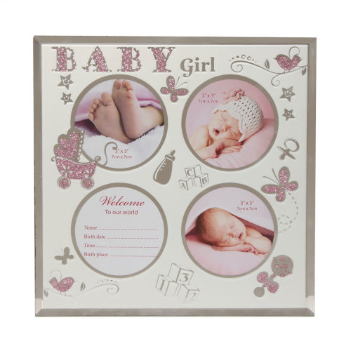 New Baby Glass Multi Aperture Photo Frame with Data Space - Baby Girl