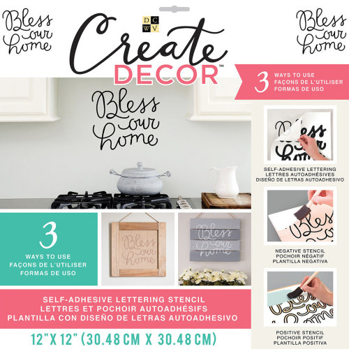 """Dcwv Create Decor Self-Adhesive Lettering & Stencil 12""""X12""""-Bless Our Home-Black"""