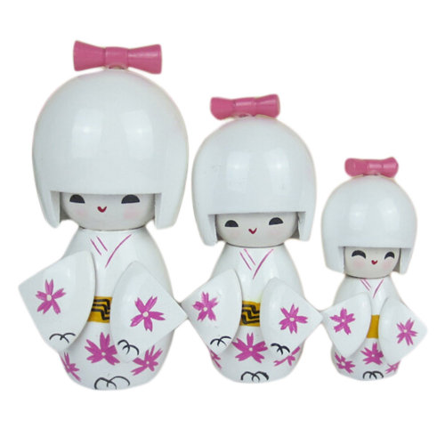 Lovely Japanese Kimono Girl Wooden Dolls With Cherry Blossoms 3 Pcs  White