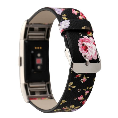 Gimartuk For Fitbit Charge 2 Leather Band, Women Girls Watch Wristband Microfiber Leather Replacement Band Bracelet Strap with Floral Pattern...