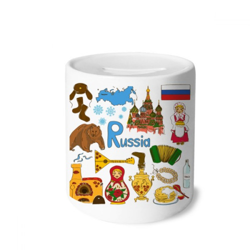 Russia Landscap Animals National Flag Money Box Saving Banks Ceramic Coin Case Kids Adults