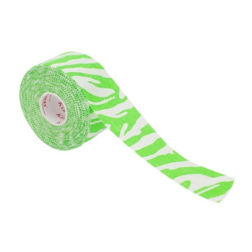 1 Roll Bracers Elbow Ankle Cohesive Adherent Sports Bandage, Green Zebra Pattern