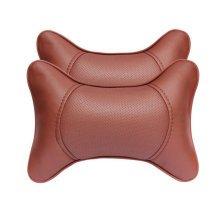 1Pair Car Head Support Pillow Seat Neck Rest Pillow Headrest Neck Pillow-Coffee