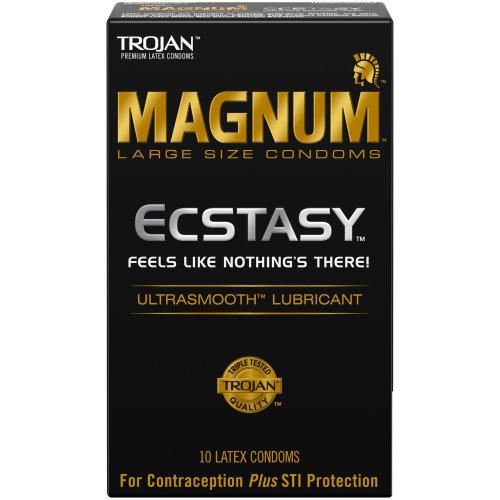 Trojan Magnum Ecstasy Ultrasmooth Lubricant Condoms, Large, 10ct