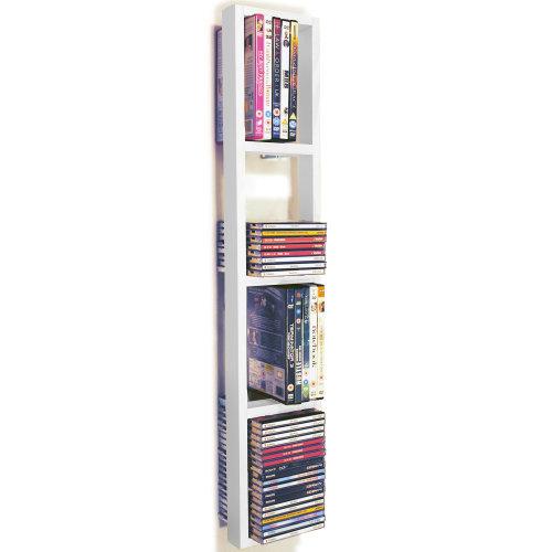 IRIS - Wall Mounted 76 CD / 32 DVD / Blu ray Storage Frame Shelf - White