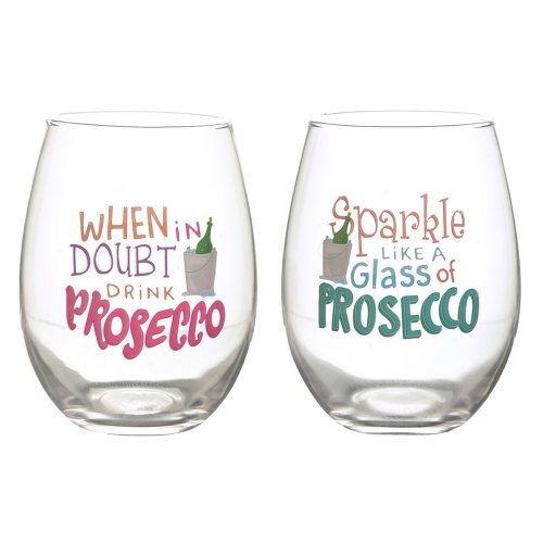 Puckator Prosecco Slogans Set of 2 Glass Tumblers