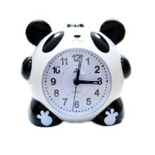 Animal Creative Panda Small Night-light Alarm Clock with Loud Alarm(Round,Black)