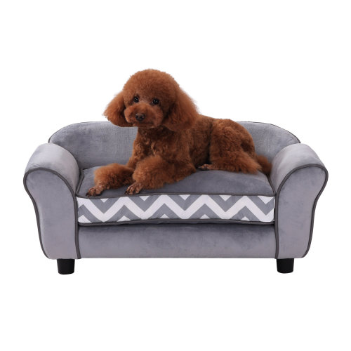 PawHut Pet Couch Dog Cat Wooden Sofa Bed Lounge Luxury w/Cushion (Grey)