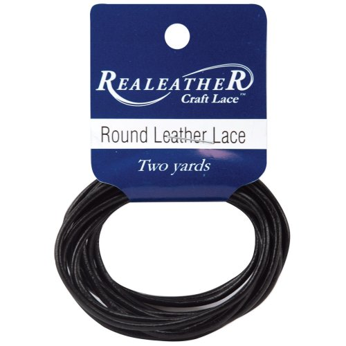 Realeather Crafts Round Leather Lace 2mmX2yd Packaged-Black