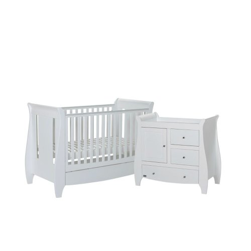 Tutti Bambini 2 Piece Lucas Sleigh Room Set in White
