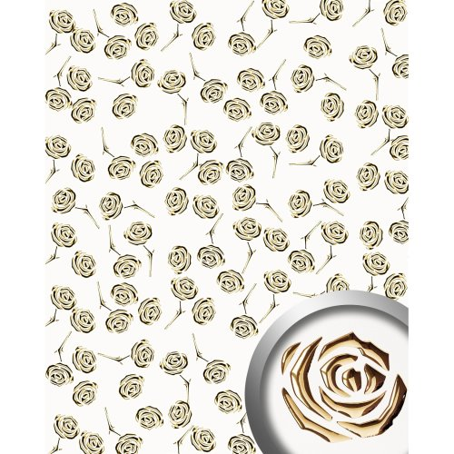 WallFace 16444 3D ROSE Wall panel punched flower decor gold pearlwhite 2.60 sqm