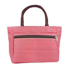 Lovely Medium Printed Tote Bag Purse Handbag With Zipper Red Stripes