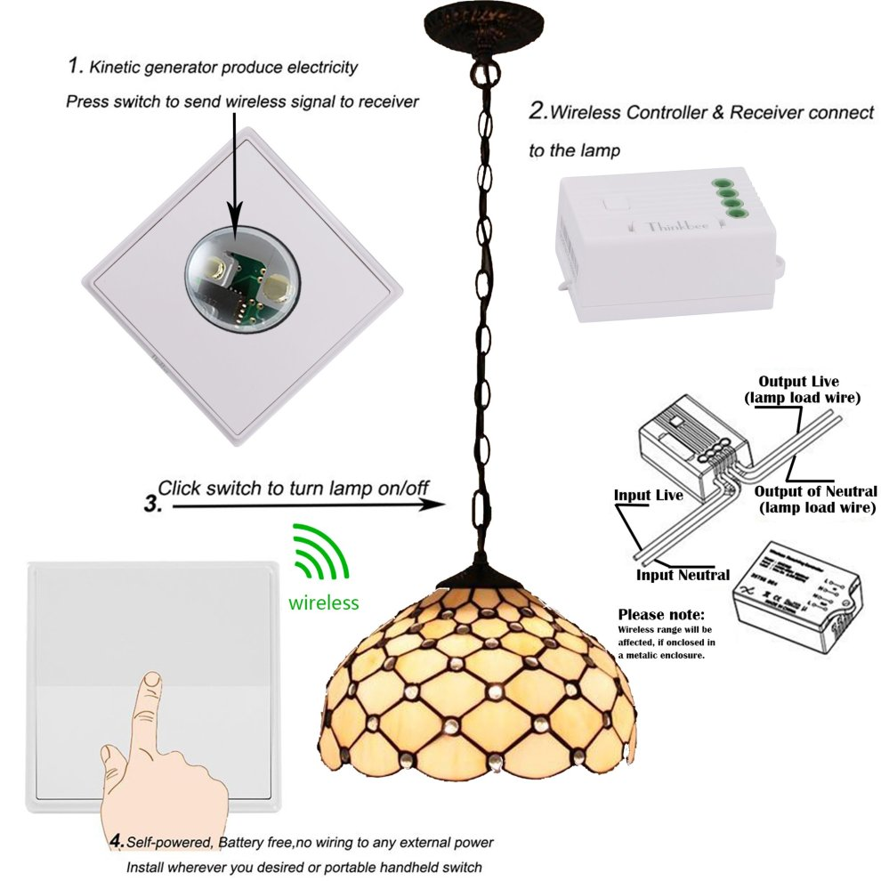 Fine Thinkbee Wireless Light Switch Kit No Battery No Wiring No Wifi Wiring Cloud Hisonuggs Outletorg