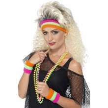 Laides 1980's Party Princess Kit -  sweatbands 80s fancy dress neon 1980s smiffys accessory costume