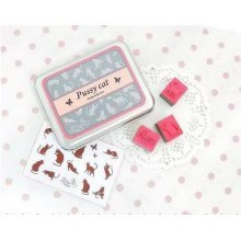 Creative Letter Stamps Pussy Cat Custom Rubber Stamps Set of 15 with Tin Box
