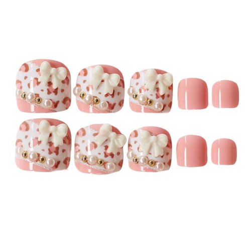 2 Box Lovely Pink Leopard Print Summer False Toenails Artificial Nails Tips