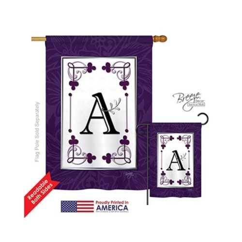 Breeze Decor 30001 Classic A Monogram 2-Sided Vertical Impression House Flag - 28 x 40 in.