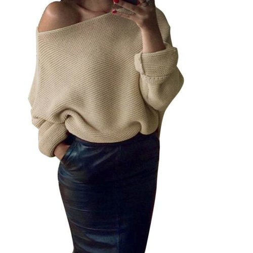 HOT SALE Off Shoulder Fashion Womens Chunky Knit Knitted Oversize Baggy Short Sweater Jumper Top
