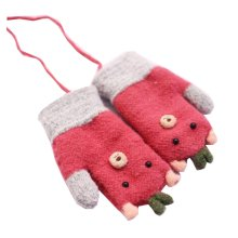 Mixed Color Fashion Red Children Winter Knit Mittens(4-6 Years)