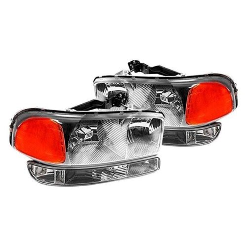 Spec D Tuning 2LBLH-GMC99-RS Euro Style Head Light with Bumper Lights for 1999-2006 Gmc Sierra, Chrome