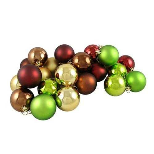 Vickerman N590640 Burgundy Mocha Lime Gold Ball Ornament - 2.4 in. - 24 per Box