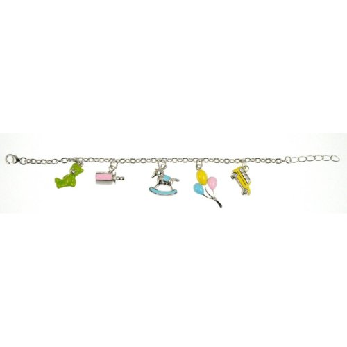Childrens Sterling Silver Multi Coloured Bracelet