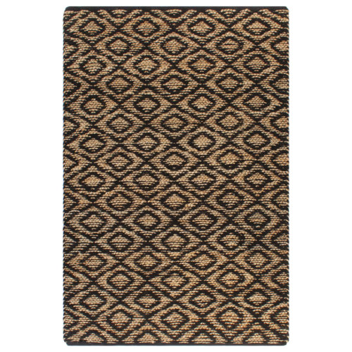 vidaXL Hand-Woven Jute Area Rug Fabric 160x230cm Natural and Black Carpet Mat