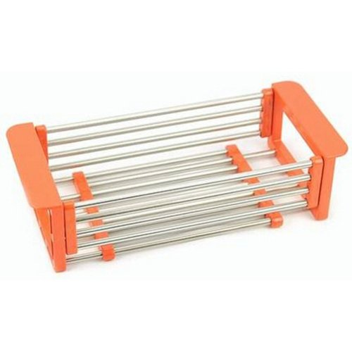 Sink Dish Drainer Rack Collapsible Over Sink Dish Drainer Orange