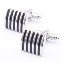 Black Stripe Silver Cuff Links Stylish Mens Cufflinks Striped