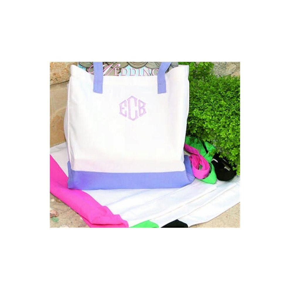 2f3d80baa Ivy Lane Design 3PH Canvas Tote Bag - White with Periwinkle Straps on OnBuy