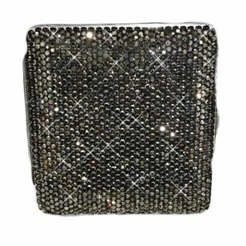 Women Metal Cigarette Case Storage Case Bling Bling Cigarette Box for 20 Regular Size Cigarettes, Black Rhinestones