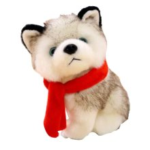 Simulation Husky Doll Plush Toy Dog Doll Small Doll Dog Year Mascot [B]