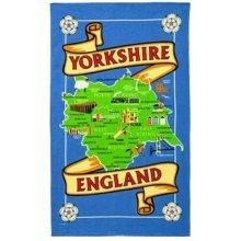 Yorkshire Map Tea Towel Souvenir Gift Ridings Whitby Abbey Dales York Minster