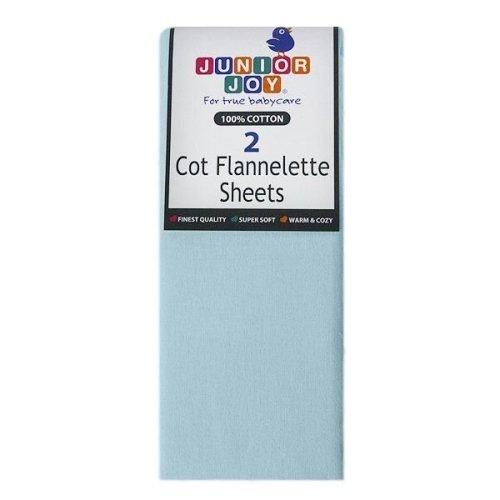 2 x Junior Joy Baby Cot Flannelette Sheets 100% Soft Cotton Pack - White