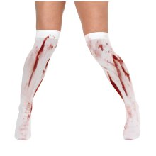 White Stockings With Blood Stains -  stockings blood fancy dress white halloween stained zombie stains ladies FANCY DRESS STOCKINGS WHITE BLOOD