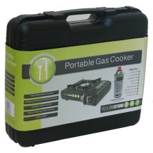 Portable Gas Cooker -  portable stove gas yellowstone camping bbq black case cooker carry