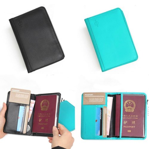 RFID Blocking PU Leather Passport Holder 9 Slot ID Credit Card Case Travle Wallet