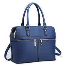 Miss Lulu Women Leather Handbag Laptop Shoulder Bag Tote Navy