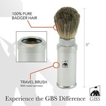 GBS 100% Pure Badger Bristle Travel Shaving Brush, Light Silver Gray Metal Cannister