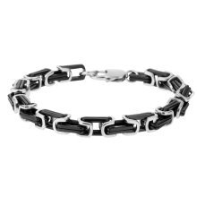 Urban Male 'Milan' Contemporary Black & Silver Stainless Steel Men's Bracelet