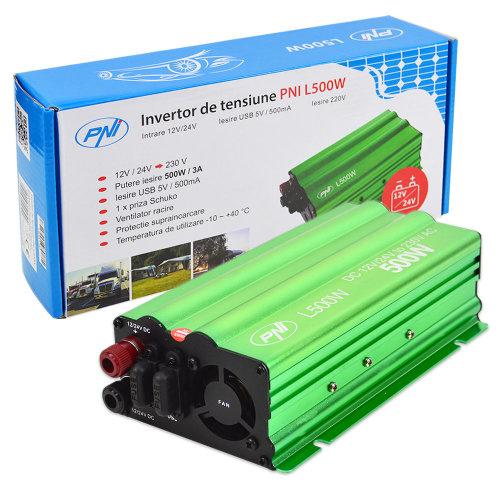 PNI L500W voltage inverter dual power supply 12V / 24V 230V output